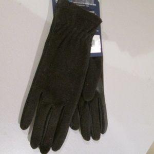 isotoner Accessories - Isotoner Black Fleece Gloves Smart Dri Touch NWT